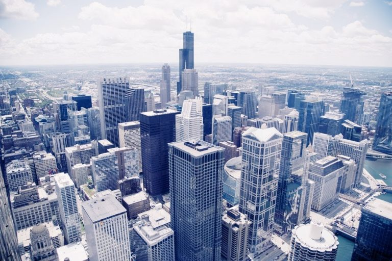 Bank corporate glass buildings, smart buildings concept
